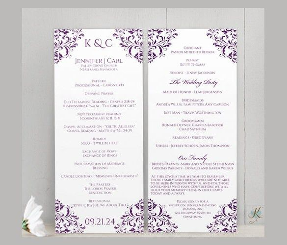 Wedding Ceremony Program Template – 31+ Word, PDF, PSD InDesign ...