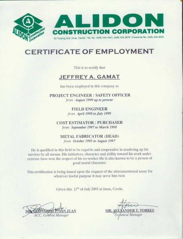8 Best Images of Certificate Of Employment - Employment ...
