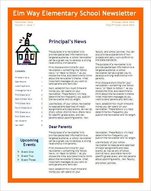 6+ School Newsletter Templates – Free Word, PDF Format Download ...
