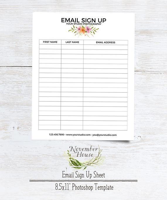 Email Sign Up Sheet Photography Forms Plus Studio Stationery