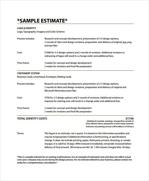Sample Business Estimate Template   7+ Free Documents Download In . Gallery