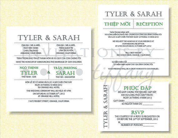 Printable Bilingual Vietnamese Wedding Invitation Set - Green ...