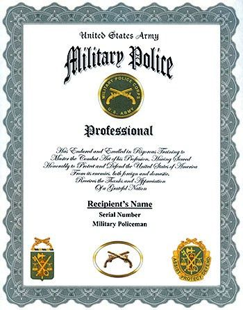 US Army Military Police Professional Display Recognition