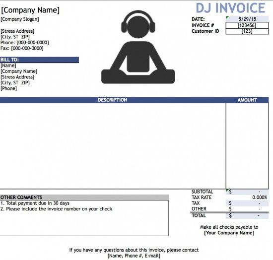 Free DJ (Disc Jockey) Invoice Template | Excel | PDF | Word (.doc)