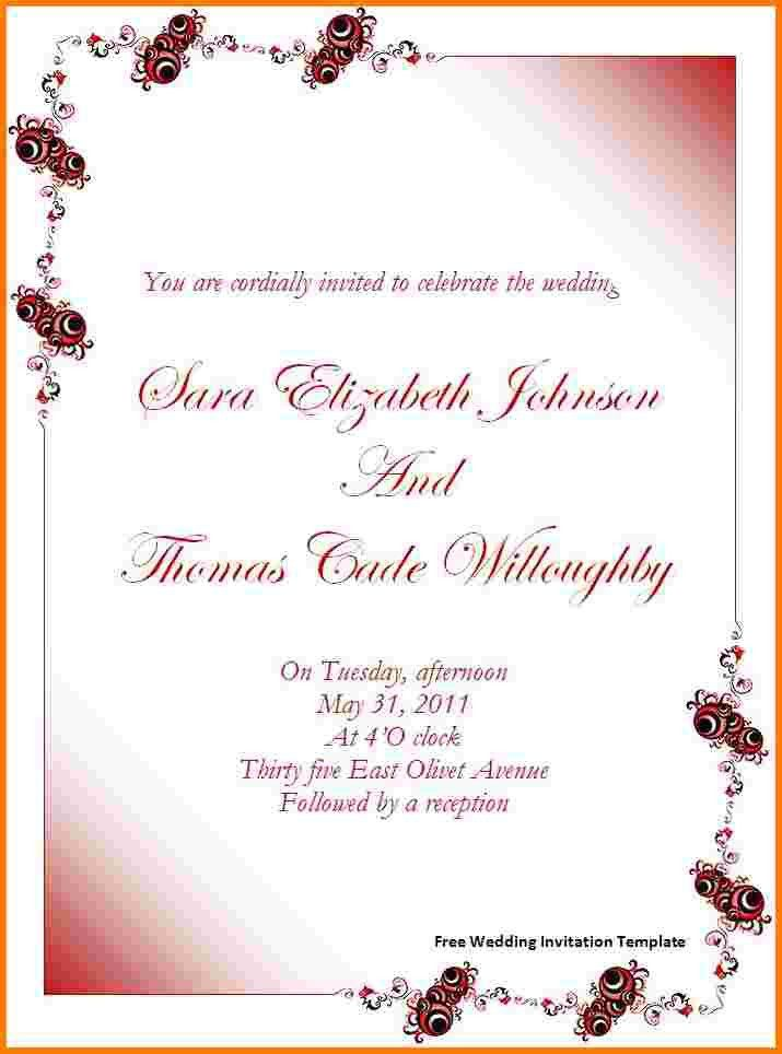 4 wedding invitation templates word | Receipt Templates