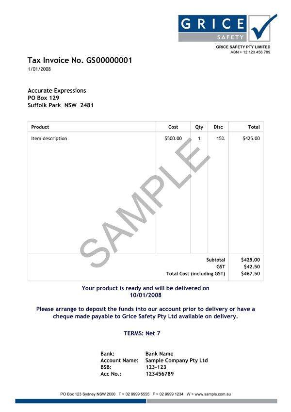 Myob Invoice Template | invoice example