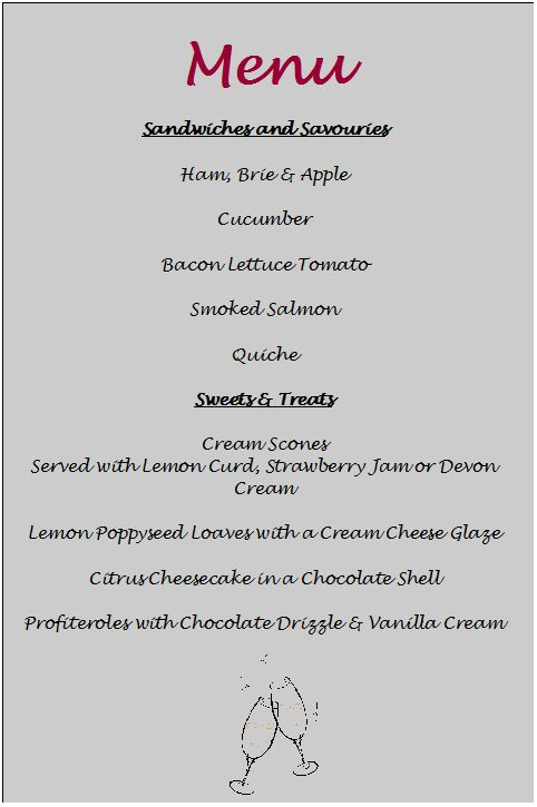 tea party menu template - Google Search   tea party   Pinterest ...