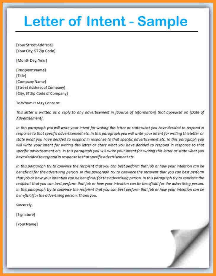 6+ letter of intent sample | buisness letter forms