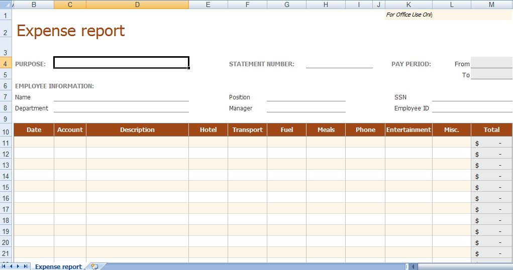 expense report forms templates