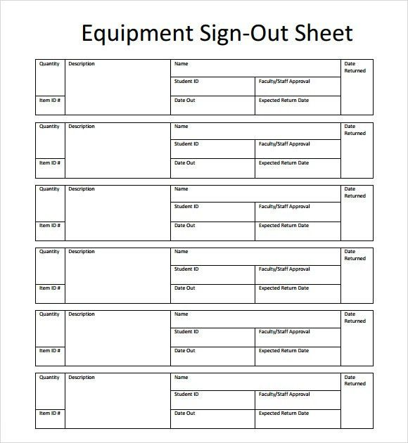 Sample Equipment Sign Out Sheet. 3; 4 Sample Project Plan .