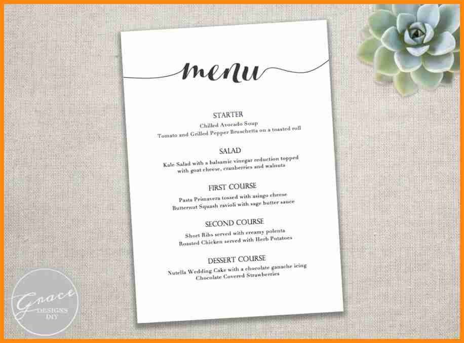 Menu template for word