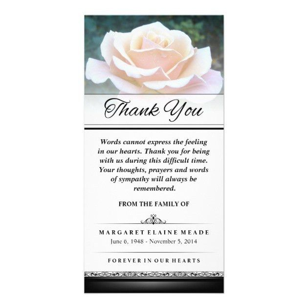 Thank You Funeral White Rose Words Cannot Express Card | Zazzle.com