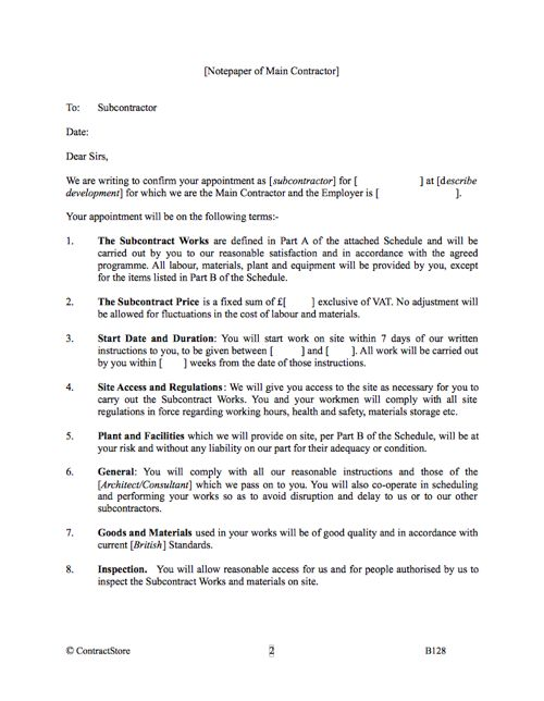 Subcontract template in Letter Format