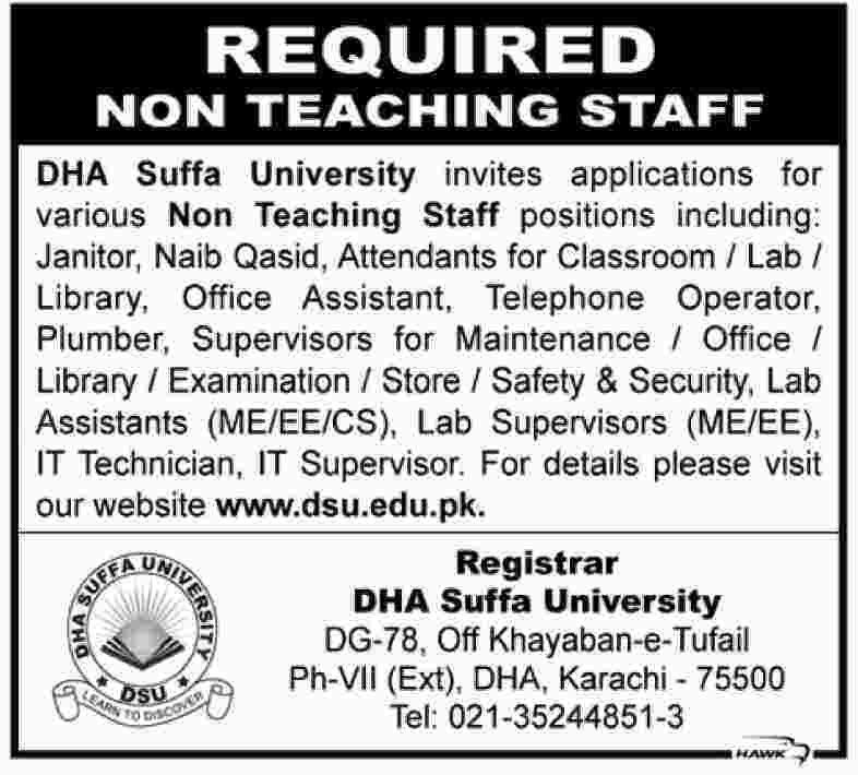 DHA Suffa University (DSU) Jobs for Non-Teaching Staff in Karachi ...