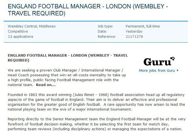 Spoof advert for vacant England manager post removed from job site ...