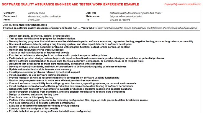 create my resume. resume format for quality assurance. quality ...