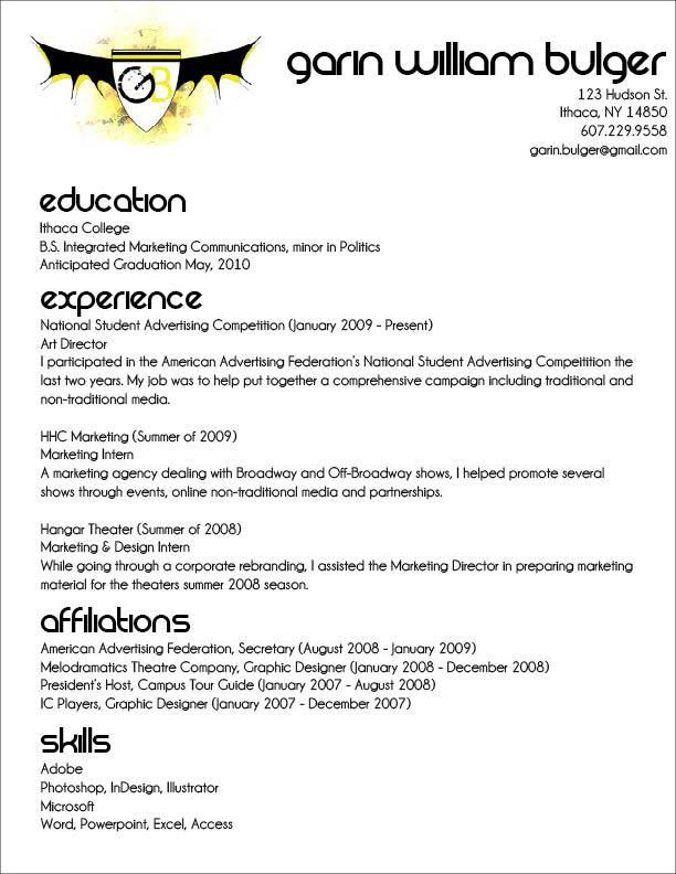 Resume Outlines Examples