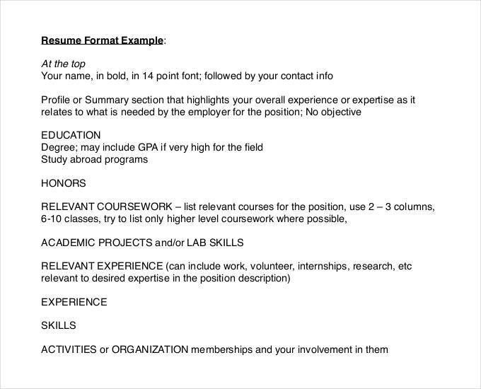 Best Resume Formats - 47+Free Samples, Examples, Format | Free ...