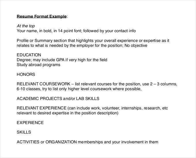 Skill Resume Format. Resume Format In America Job Search Skills ...