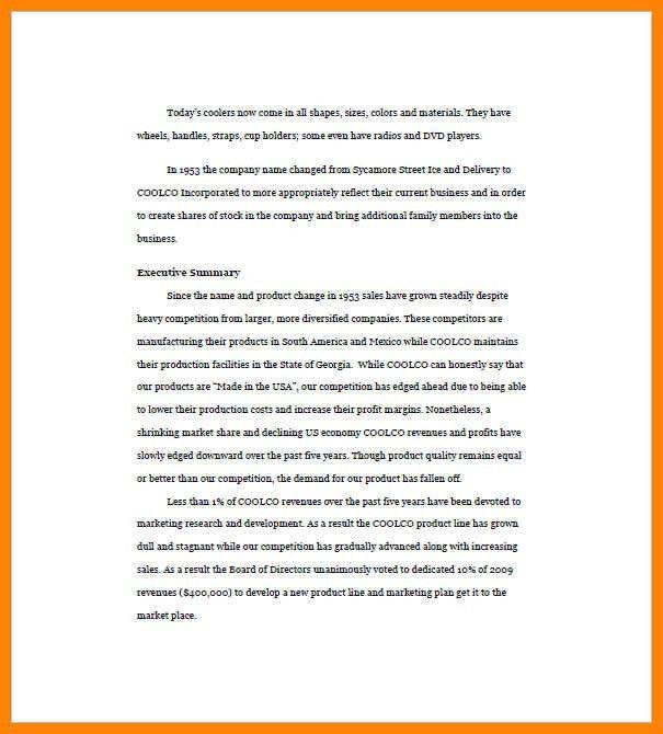 sample executive summary | art resumes