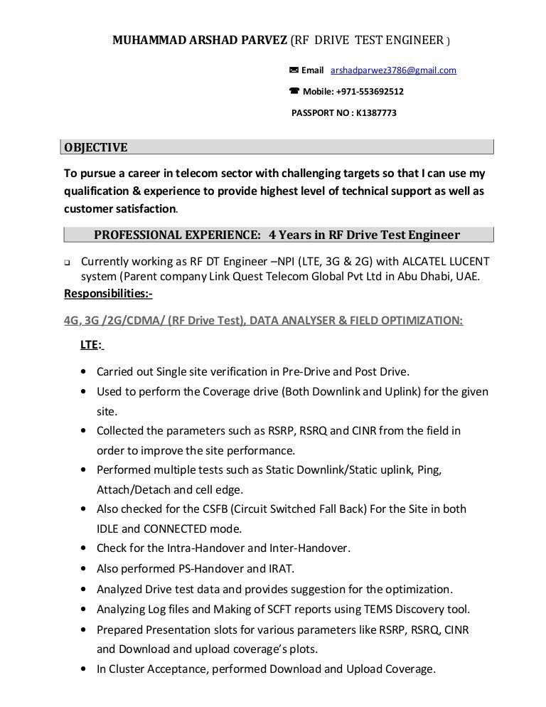 Download Rf Drive Test Engineer Sample Resume ...