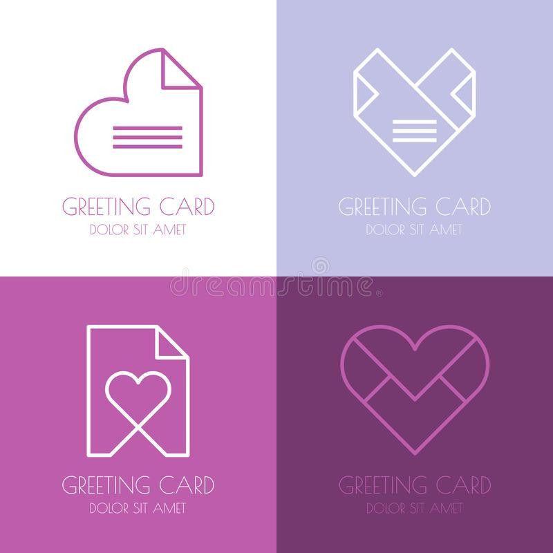 Set Of Vector Simple Logo Design Template. Paper Love Letter, He ...
