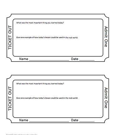 Editable Exit Ticket Template | Ticket template, Reading ...