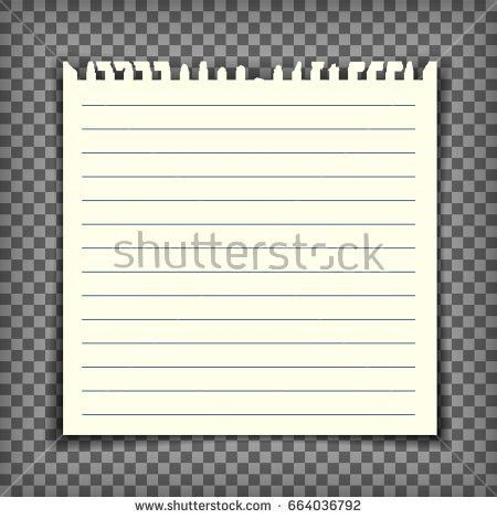 Blank Lined Note Book Page Torn Stock Vector 684049450 - Shutterstock