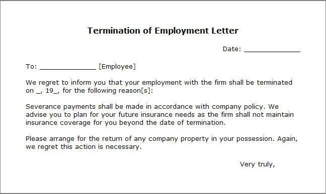 Free Printable Letter Of Termination Form (GENERIC)