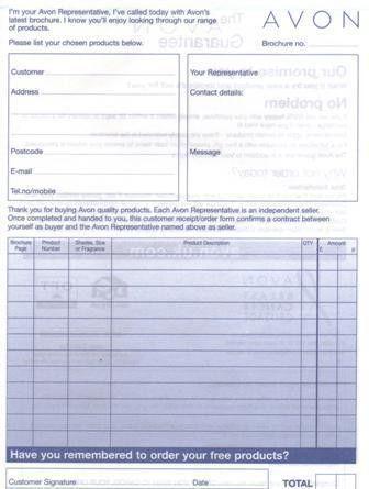 Download Avon Order Form | rabitah.net