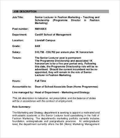 Marketing Job Description - 9+ Free Word, PDF Format Download ...