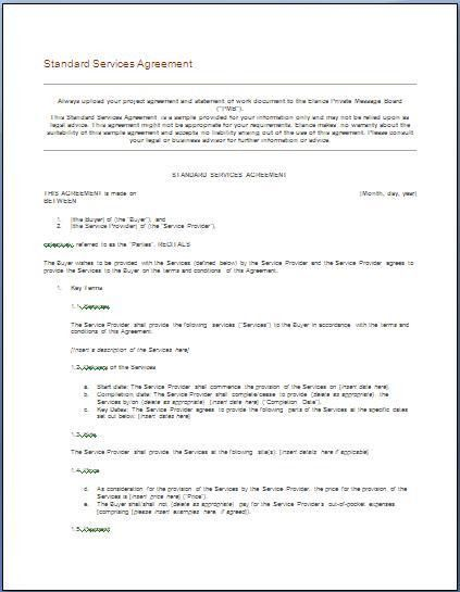 Plumbing Contract Template. Simple Vendor Agreement Service ...