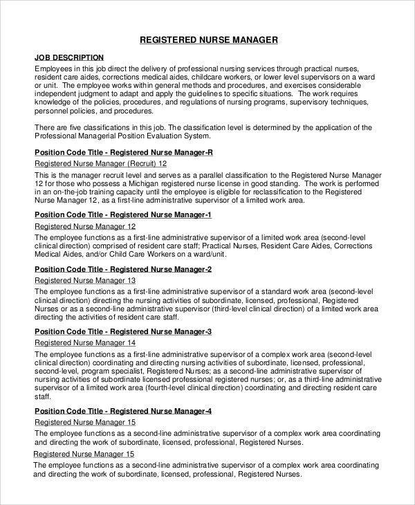 Sample RN Job Description - 9+ Examples in PDF, Word