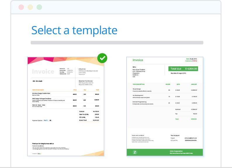 Create and send invoices online| Zoho Invoice