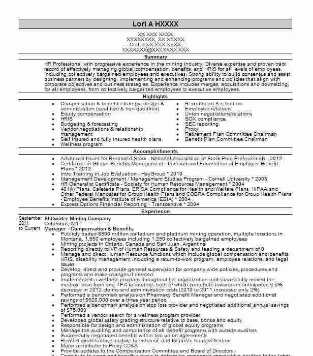 Best Compensation And Benefits Resume Example | LiveCareer