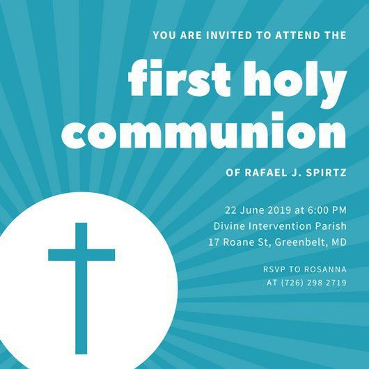 Blue Host First Communion Invitation - Templates by Canva