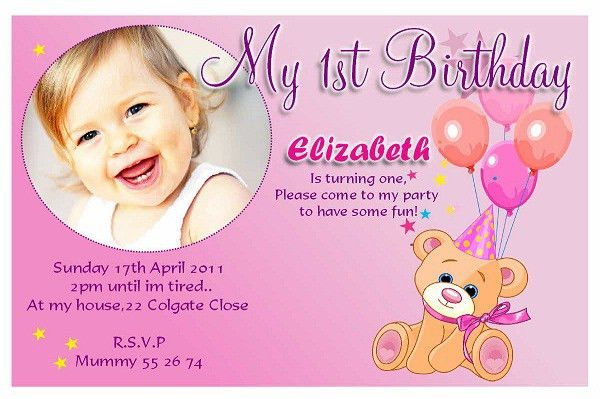 Enchanting Sample 1St Birthday Invitation Card 21 On Sample ...
