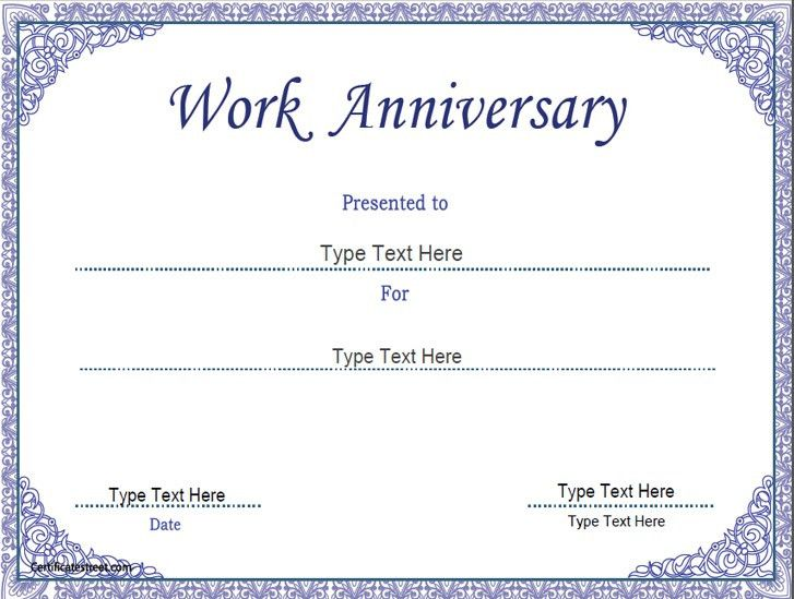 Business Certificate - Work Anniversary Certificate Template ...