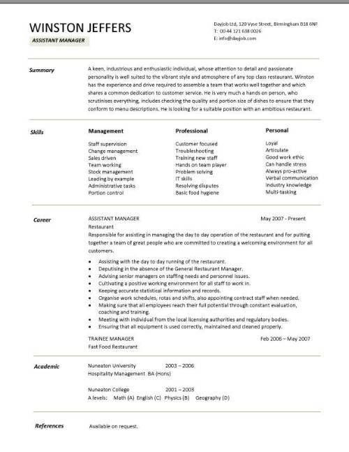 Restaurant assistant manager resume templates, CV, Example, job ...