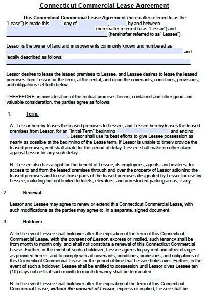 Free Connecticut Commercial Lease Agreement Template – PDF – Word ...