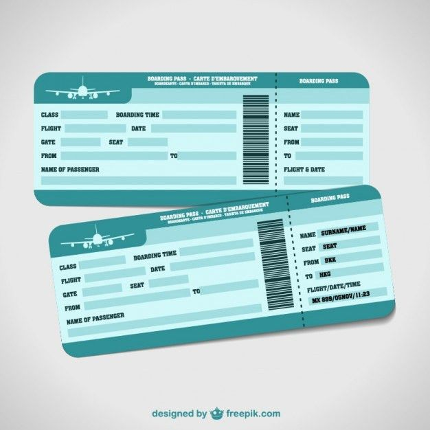 27 Best Airline Boarding Pass Ticket Template Examples : Thogati