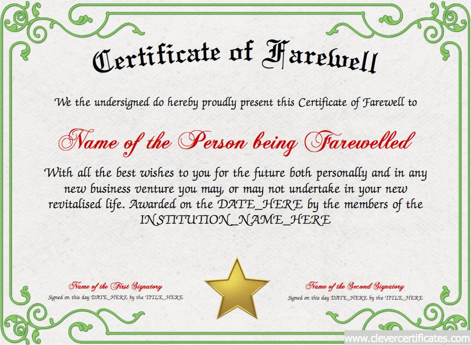 Certificate of Farewell! FREE Certificate Templates for #employees ...