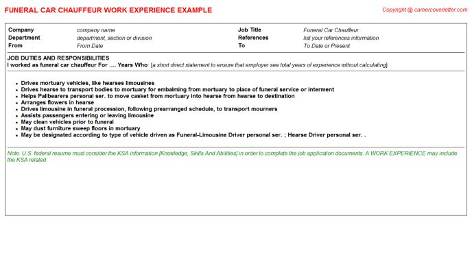 Funeral Arranger CV Work Experience Samples