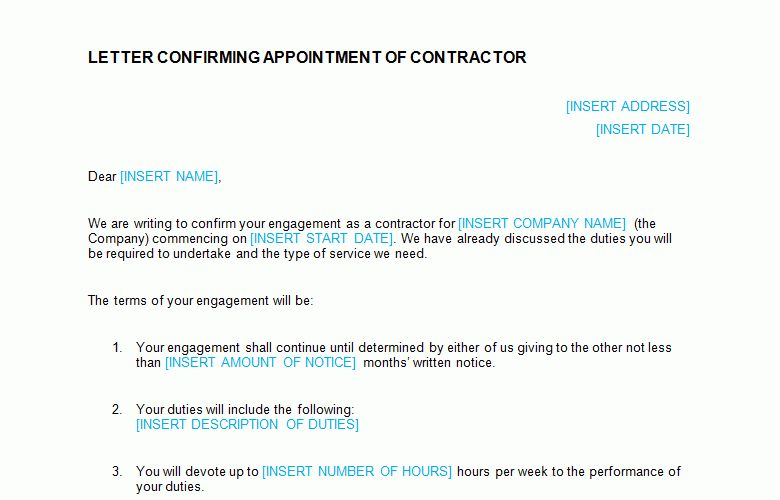 Contractor Appointment Letter Template - Bizorb