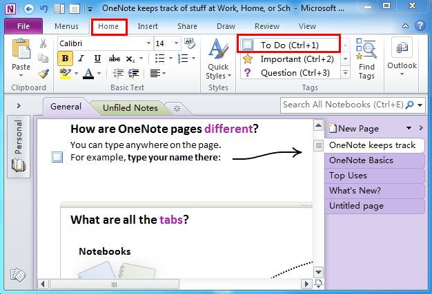 Where is To Do List in Microsoft OneNote 2010, 2013 and 2016