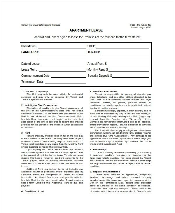 Apartment Lease Template - 7+ Free Word, PDF Documents Download ...