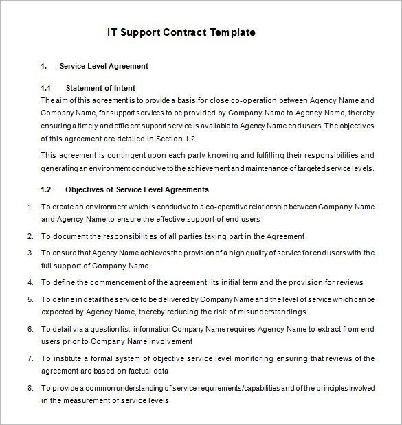 7+ IT Support Contract Templates – Free Word, PDF Documents ...