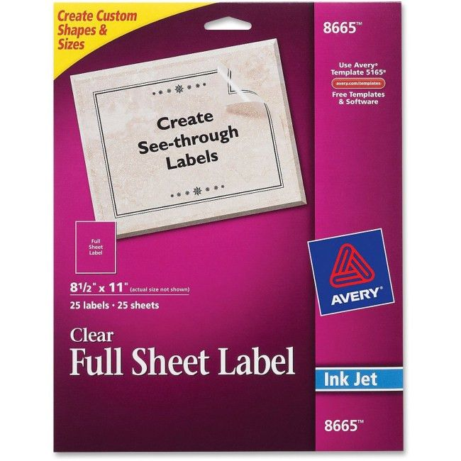 Avery 8665 Clear Full-sheet Inkjet Mailing Labels Permanent ...