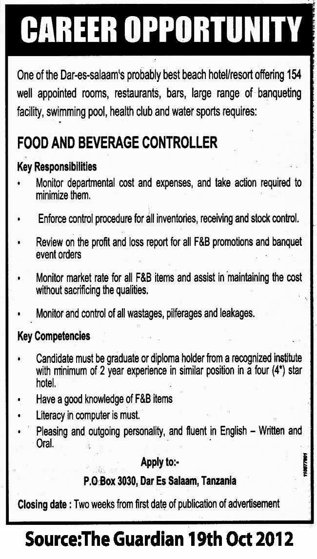 Food and Beverage Controller | TAYOA Employment Portal