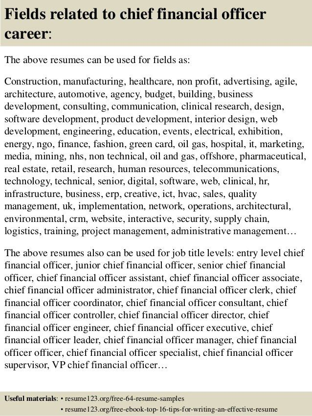 Top 8 chief financial officer resume samples